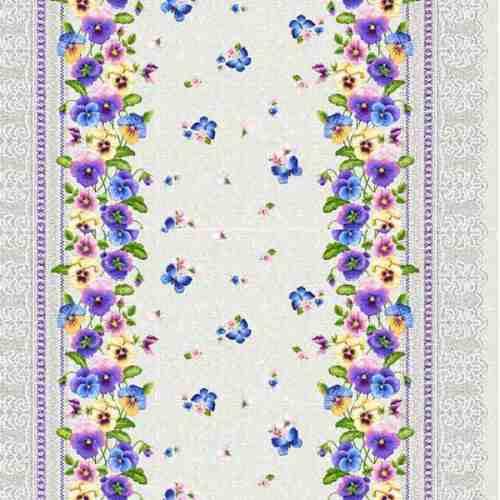 Ткань рогожка арт.187421 Анютины глазки